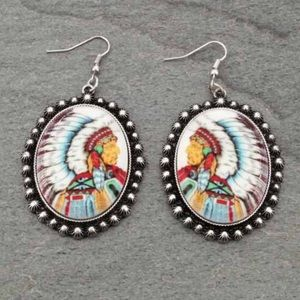 Jewelry - Western Indian Chief Print Fish Hook Earrings